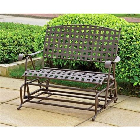 wrought iron patio glider bench metal and wooden glider bench and benches