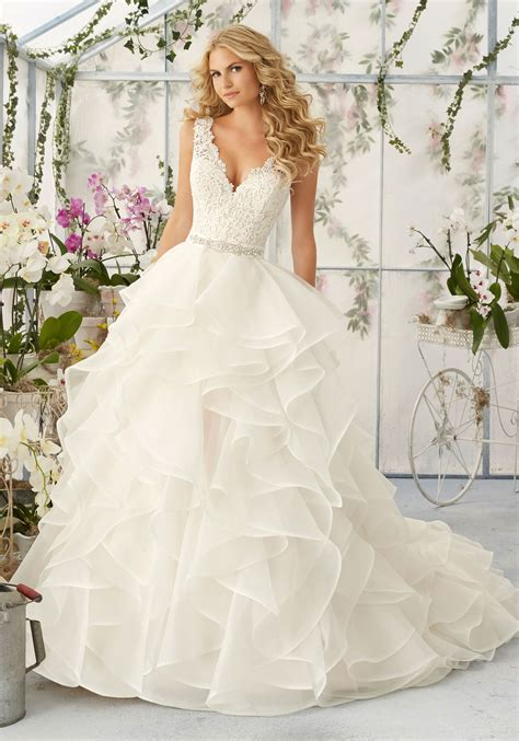 Brautkleider Organza by Lace Appliqu 233 S On Organza Skirt Wedding Dress Style 2805