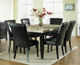 Dining Rooms Sets Steve Silver Monarch 7 Piece Marble Top 70x42 Dining Room