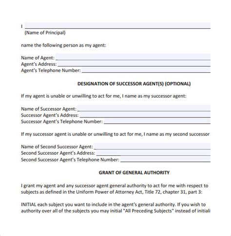 durable power of attorney template durable power of attorney forms 7 free sles