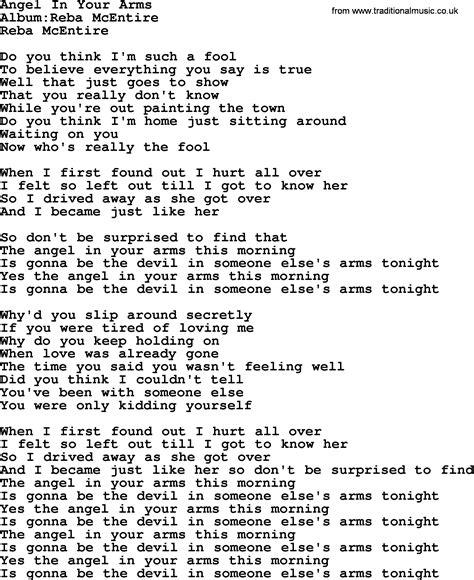 in lyrics in your arms by reba mcentire lyrics