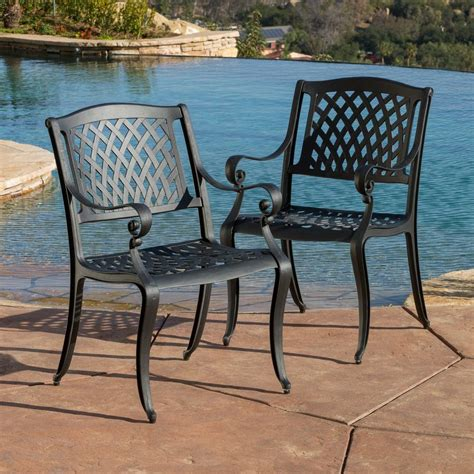 Black Metal Patio Chairs Shop Best Selling Home Decor Hallandale 2 Count Black Sand Aluminum Patio Dining Chairs At Lowes
