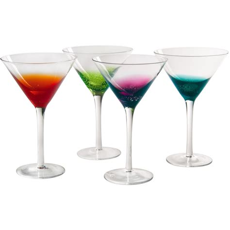 cocktail glass set colorful martini glasses fizzy style set of 4 in glassware