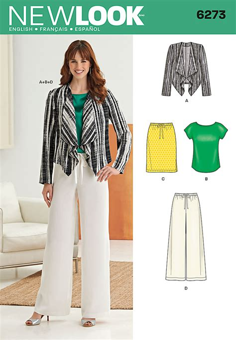 pattern new look new look 6273 misses jacket top pants and skirt