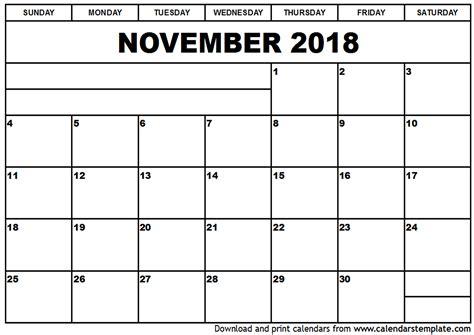 Calendar November 2017 To April 2018 Printable November 2018 Calendar Template
