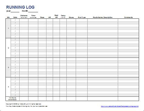 run template free printable running log or walking log template for excel