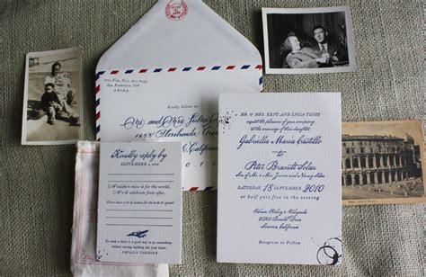 letter inspired wedding invitations vintage airmail inspired wedding invitations