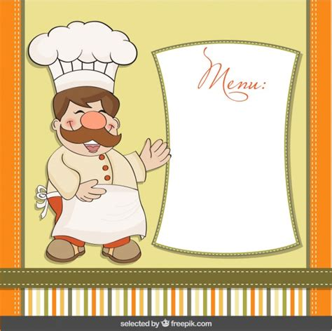 chef template chef with menu template vector free