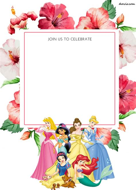 free disney invitation templates free printable disney princess floral invitation template