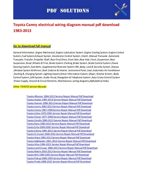 toyota 2002 camry service manual pdf download autos post