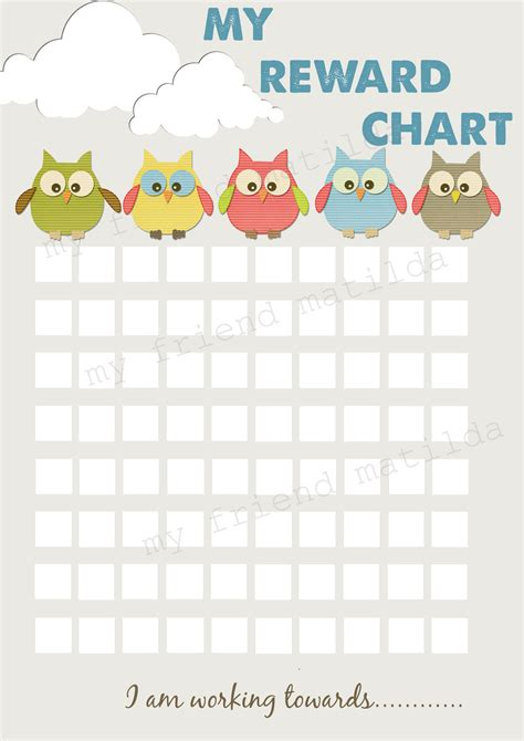 printable incentive charts for school hot air balloon owl reward chart chore chart printable