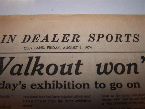 the cleveland plain dealer sports section cleveland browns football team walkout 1974 cleveland