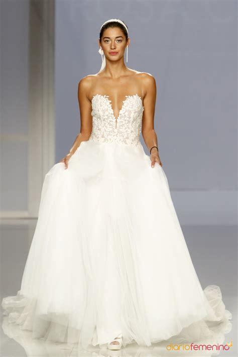imagenes de vestidos de novia con escote en la espalda vestido de novia de rosa clar 225 escote coraz 243 n y tul