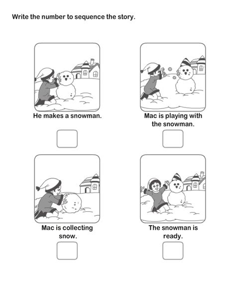 Sequencing Worksheets Kindergarten by Picture Sequence Worksheet Snowman Preschool Theme