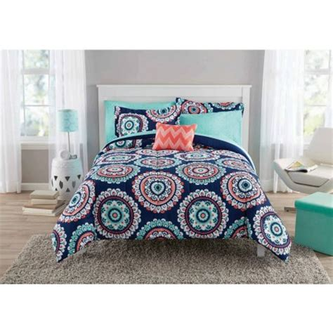 mainstays bed in a bag mainstays navy medallion bed in a bag walmart com