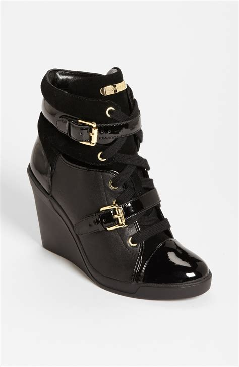 black michael kors sneakers michael kors skid iconic gold logo buckle lace up