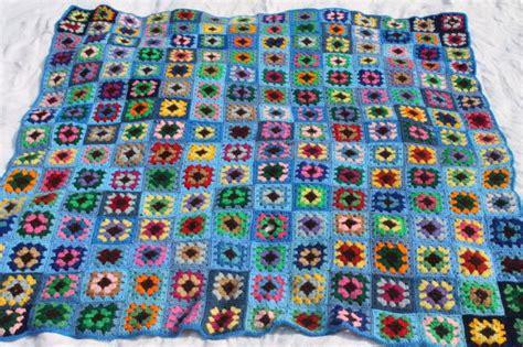 70s vintage granny square crochet afghan blanket, bohemian