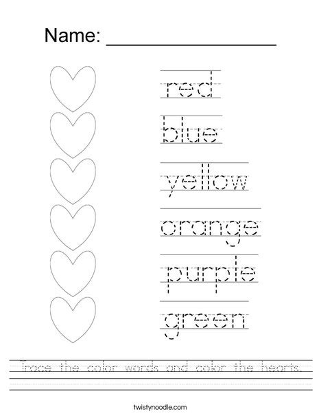 color words worksheet trace the color words and color the hearts worksheet