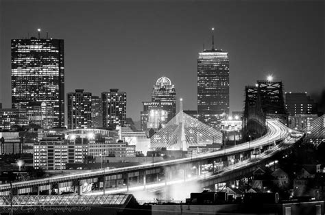 Cityscape Wall Murals boston city skyline zakim bridge tobin bridge city lights