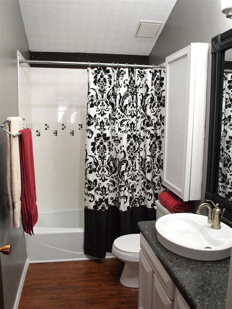 black white red shower curtain cool black and white bathroom decor for your home