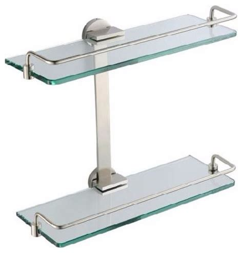 brushed nickel shelves bathrooms fresca 2 tier bathroom glass shelf brushed nickel