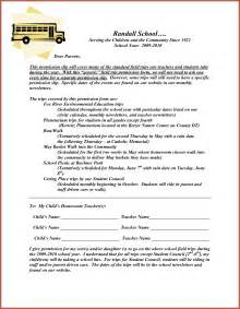 Parents Consent Letter For Field Trip Permission Slip Template Sop Exle