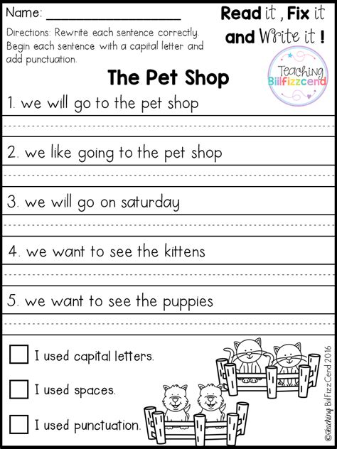 Grammar Letter Writing Exercises free 20 fix it up pages these are great for students in