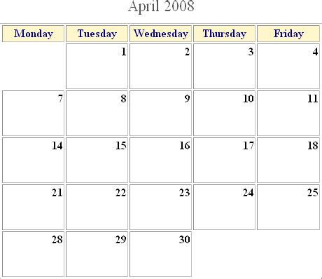 Calendar Generator Html Calendar Generator 187 File Exchange Of The Week