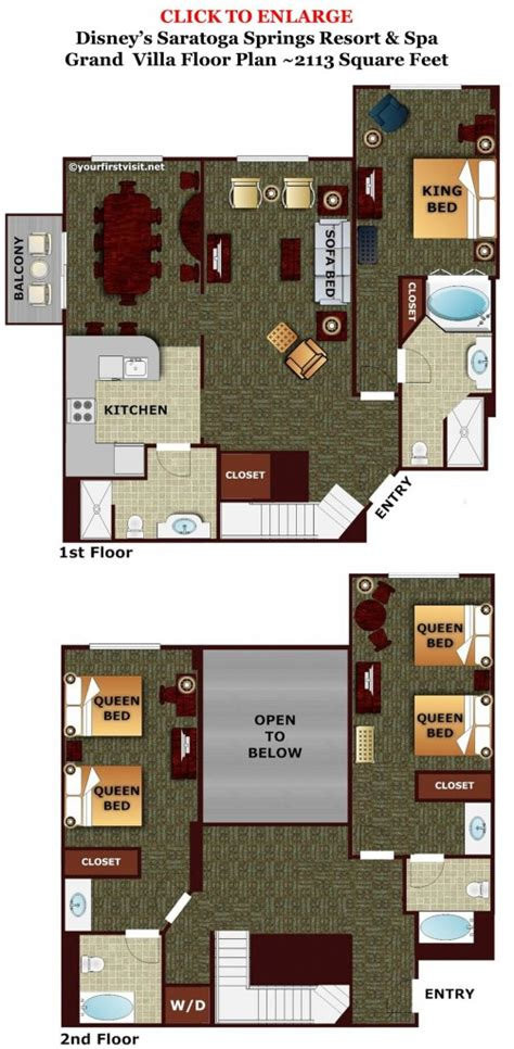 saratoga springs two bedroom villa floor plan review disney s saratoga springs resort spa page 5