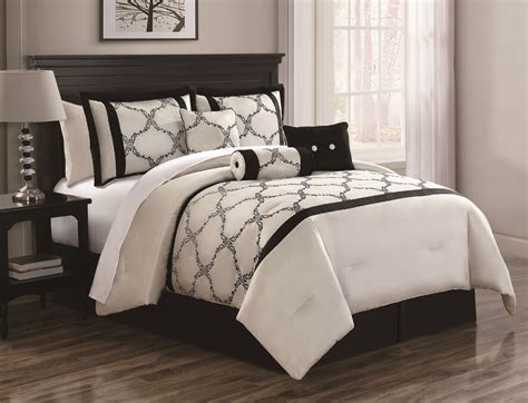 Black And Ivory Bedding Sets 7 Gracie Ivory And Black Comforter Set Ebay