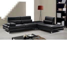 Leather Sofa Sectionals Dreamfurniture Modern Black Leather Sectional Sofa