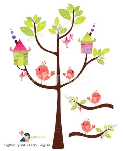 sweet bird and tree clipart set with cute little owl cute birdhouse clipart clipart panda free clipart images