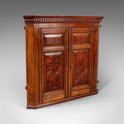 antique small corner wall cabinet cupboard oak amboyna