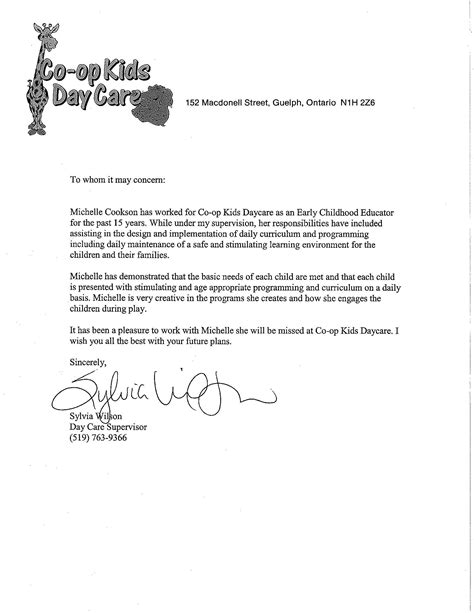 reference letter for child care exle docoments ojazlink