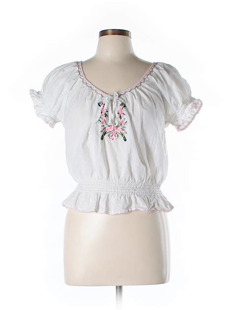 Gloria Vanderbilt Sleeve Blouses by Gloria Vanderbilt 100 Cotton Print White Sleeve
