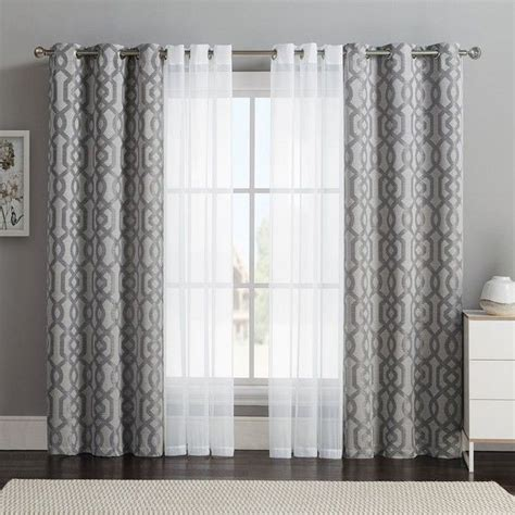 double layer curtains vcny 4 pack barcelona double layer curtain set gray 32
