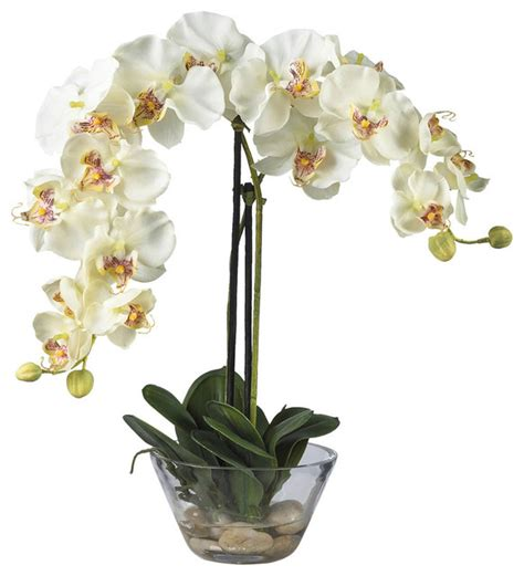 Artificial Flowers Vase by Phalaenopsis With Glass Vase Silk Flower Arrangement