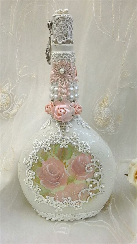 shabby chic bottle altered bottle with hand painted roses