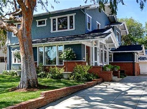 blue craftsman house giving an old california craftsman new curb appeal hooked on houses