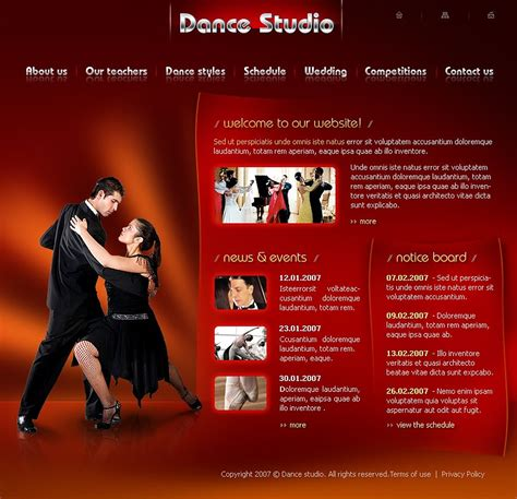 templates for dance website dance studio flash template web design templates