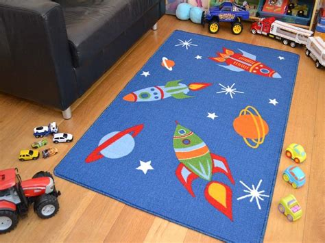 Boys Bedroom Rugs | small large boys kids space ships rockets washable non