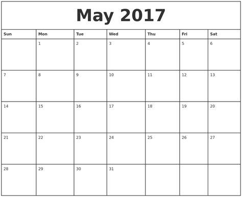 printable calendar months 2017 printable monthly calendar for may 2017