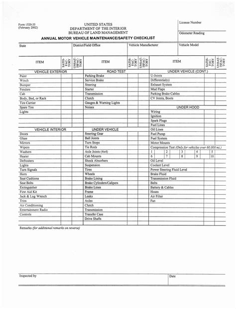car service check sheet template best photos of free vehicle maintenance checklist
