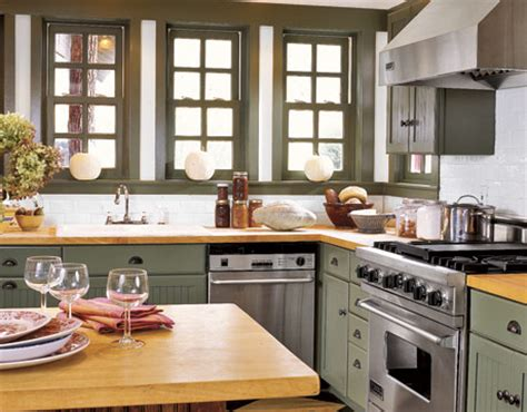 To Market Green Kitchen by High Market Butcher Block Countertops