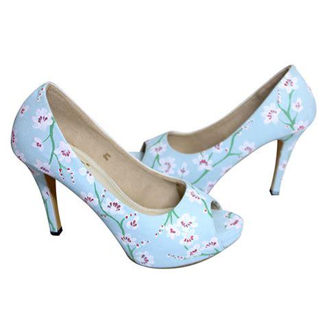 Wedges Kembang Selop sepatu peeptoe lukis magnolia biru slightshop