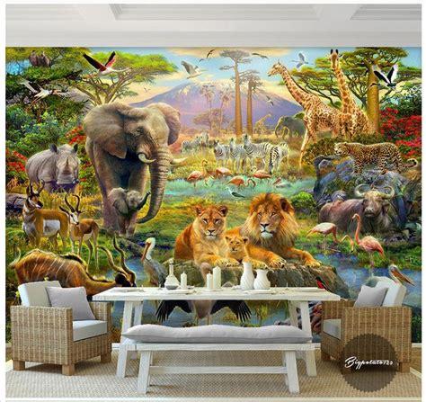 custom 3d elephant wall mural personalized giant photo custom 3d wallpaper murals cartoon mural wall forest