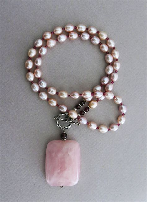 Pearl Handmade Jewelry - handmade pearl necklace with quartz handmade jewelry