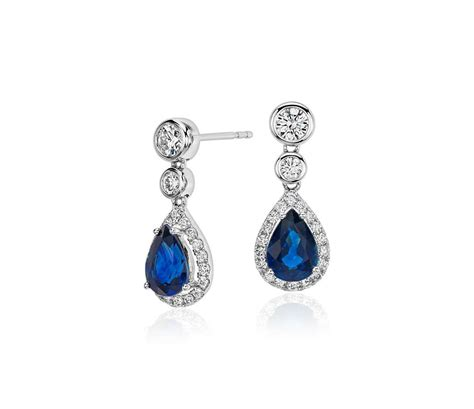 sapphire and pear drop earrings in 18k white gold