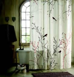 Decorative Shower Curtains Bird And Branch Patterned Shower Curtains Sets For Bathroom With Rustic Windows Artenzo