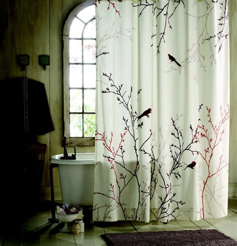 curtains birds theme statue of nature shower curtain effort to bring nature